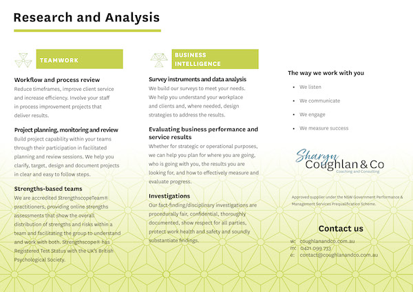 Research analysis brochure
